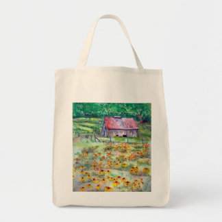 Black-Eyed Susans Wildflower Barn Watercolor Tote Bag
