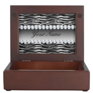 Black Faux Foil Zebra Stripes on Silver Keepsake Box