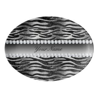 Black Faux Foil Zebra Stripes on Silver Porcelain Serving Platter