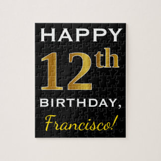 Black, Faux Gold 12th Birthday + Custom Name Jigsaw Puzzle