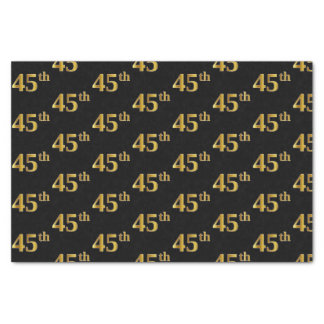 Black, Faux Gold 45th (Forty-Fifth) Event Tissue Paper