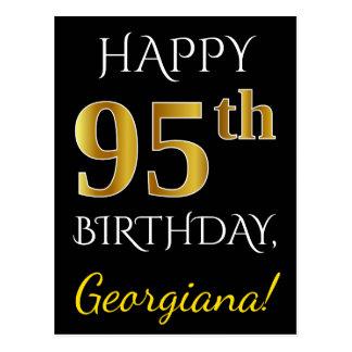 Black, Faux Gold 95th Birthday + Custom Name Postcard
