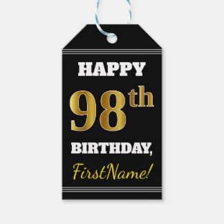 Black, Faux Gold 98th Birthday + Custom Name Gift Tags