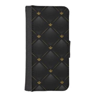 Black Faux Leather with Gold Fleur-de-lis Pattern iPhone SE/5/5s Wallet Case