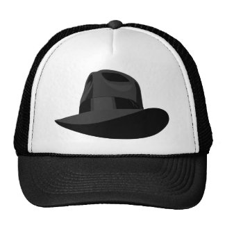 Black Fedora wide ribbon Cap