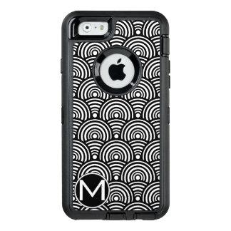 Black Fish Scale Monogram OtterBox Defender iPhone Case