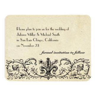 Black Fleur save the date with envelopes Custom Invites