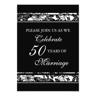 Black Floral 50th Anniversary Party Invitation