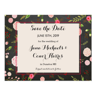 Black Floral and Pink Wedding Save the Date Postcard