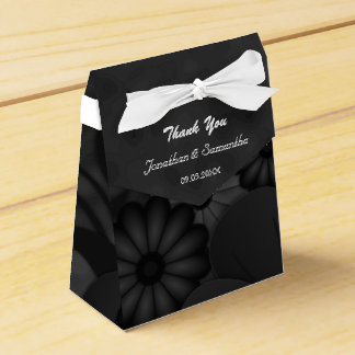 Black Floral Chalkbaord Tent With Ribbon Favor Box