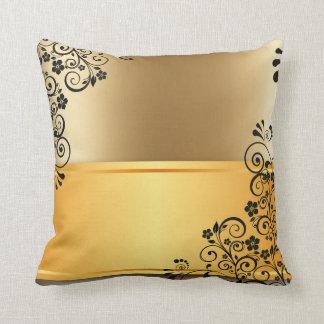Black floral decor throw pillow