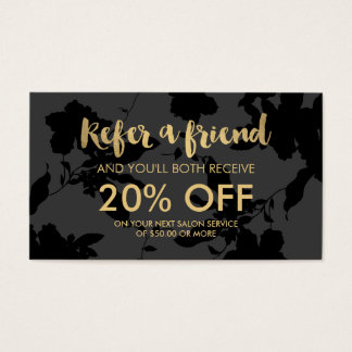 Black Floral Gold Text Salon Referral Card