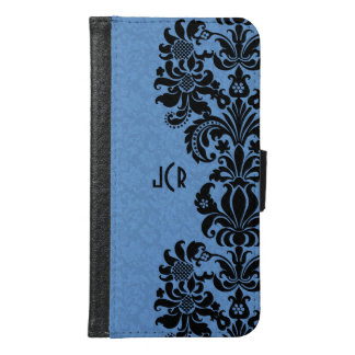 Black Floral Lace On Blue Background Samsung Galaxy S6 Wallet Case