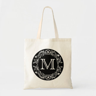 Black Floral Monogrammed Tote Bag