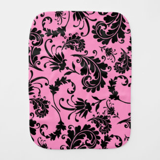 Black Floral (Pink) Baby Burp Cloth