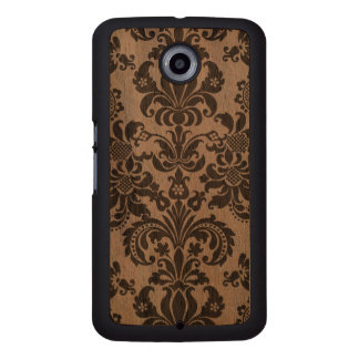 Black Floral Vintage Damasks & Lace Wood Phone Case