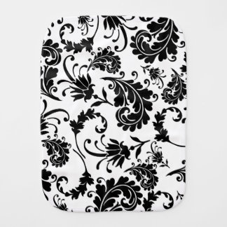 Black Floral (White) Burp Cloth