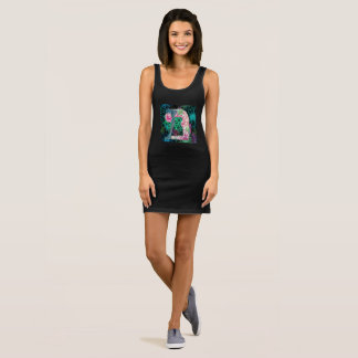 Black Floral Yoga Dresss Sleeveless Dress