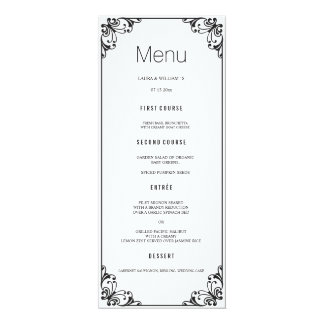 Black Flourish Wedding Dinner Menu Cards 10 Cm X 24 Cm Invitation Card