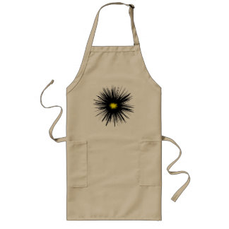 Black Flower Abstract Long Apron