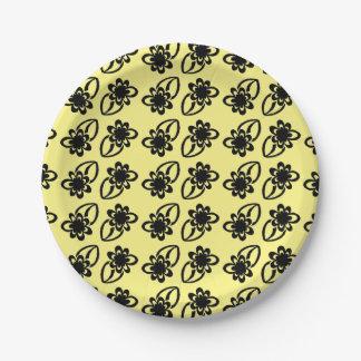 Black Flower Paper Plates