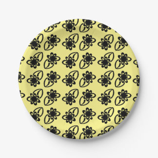 Black Flower Paper Plates 7 Inch Paper Plate