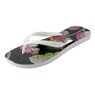 Black Flowers Women's Flip Flops