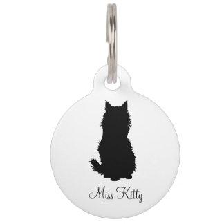 Black Fluffy Cat Pet Name Tag