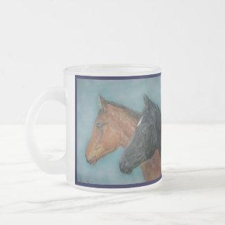 black foal chestnut colt horses equine art frosted glass coffee mug