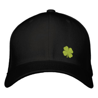 Black  Four Leaf Clover St. Patrick - CUSTOMIZABLE Embroidered Hats