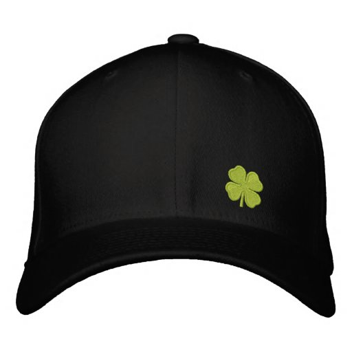 Black  Four Leaf Clover St. Patrick - CUSTOMIZABLE Embroidered Baseball Caps