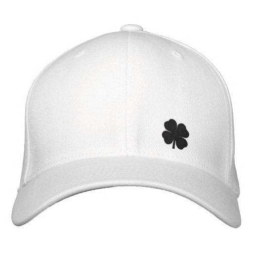Black  Four Leaf Clover St. Patricks Day Hat Embroidered Baseball Cap