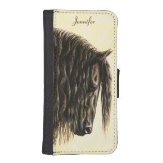 Black Friesian Draft Horse iPhone SE/5/5s Wallet Case