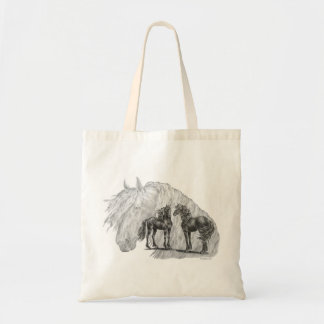 Black Friesian Horses Manes Tails Tote Bag