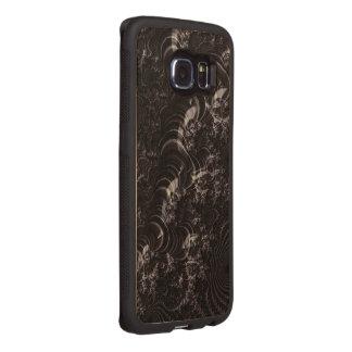 Black Glossy Fractal Art Wood Phone Case