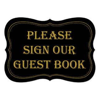 Black & Gold 1920's Gatsby Wedding Guest Book Sign 13 Cm X 18 Cm Invitation Card