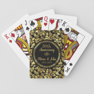 Black & Gold 50th Wedding Anniversary Playing Cards