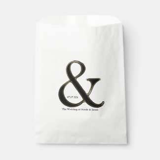 Black & Gold Ampersand Chic Custom Wedding Favor Favour Bags