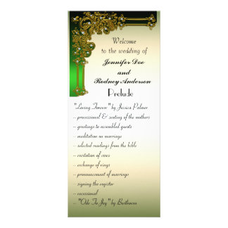 Black Gold and Green Wedding Program Rack Card