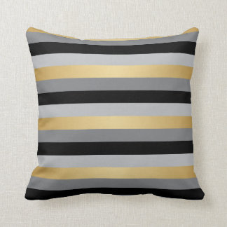 Black, Gold and Silver Stripes Cushion