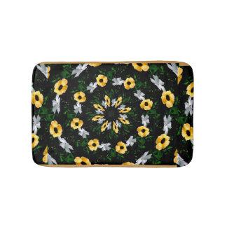 Black, Gold  and White Floral Circles bath mat Bath Mats