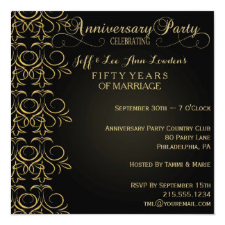 Black & Gold Anniversary Party Invitation