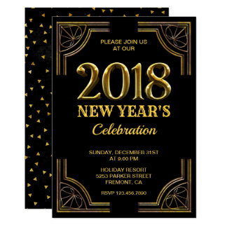 Black Gold Art Deco 2018 New Year's Eve Party Card
