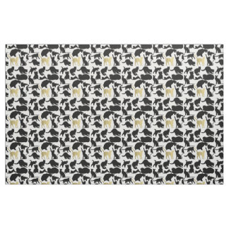 Black Gold Cats Fabric