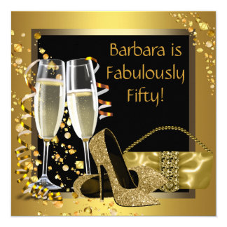 Black Gold Champagne Birthday Party Card
