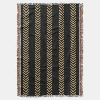 Black Gold Chevron Arrows Throw Blanket