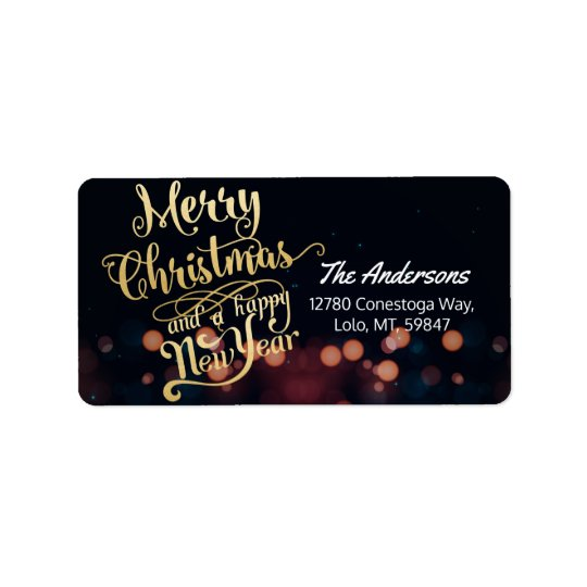 Black & Gold Christmas & Happy New Year Typography Address Label