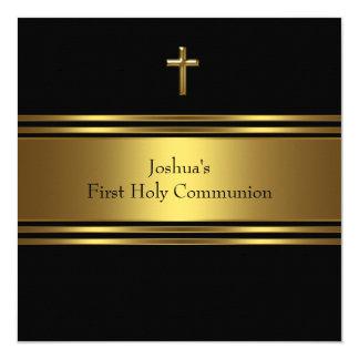 Black Gold Cross Boys First Communion Card