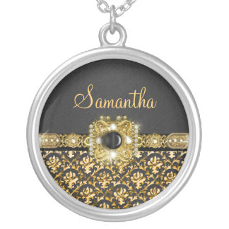 black gold damask name girls necklace