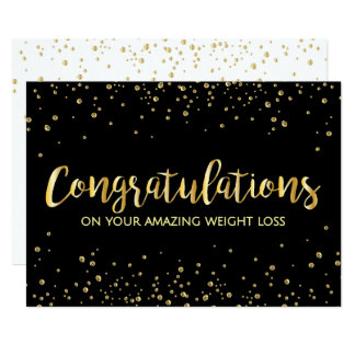 Black Gold Diet Slim Weight Loss Congratulations 13 Cm X 18 Cm Invitation Card